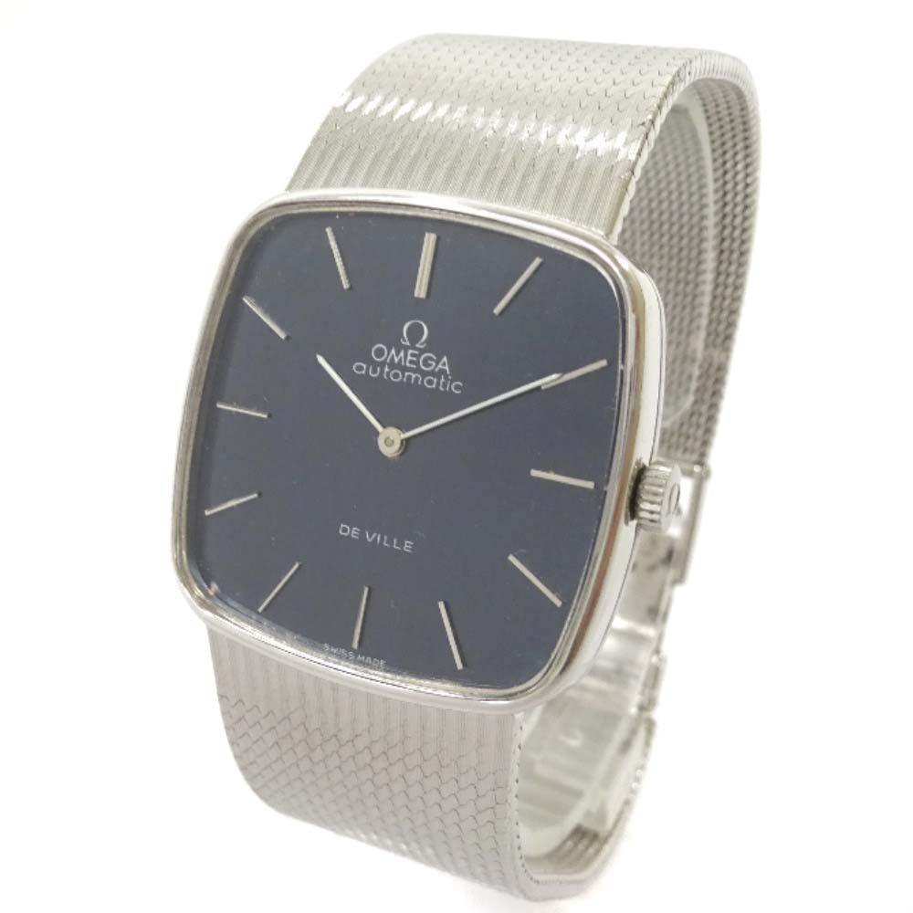 【中古】OMEGA オメガ DE VILLE デヴィル スクエアケース 腕時計 メンズ 自動巻き ネイビー文字盤 ホワイトゴールド