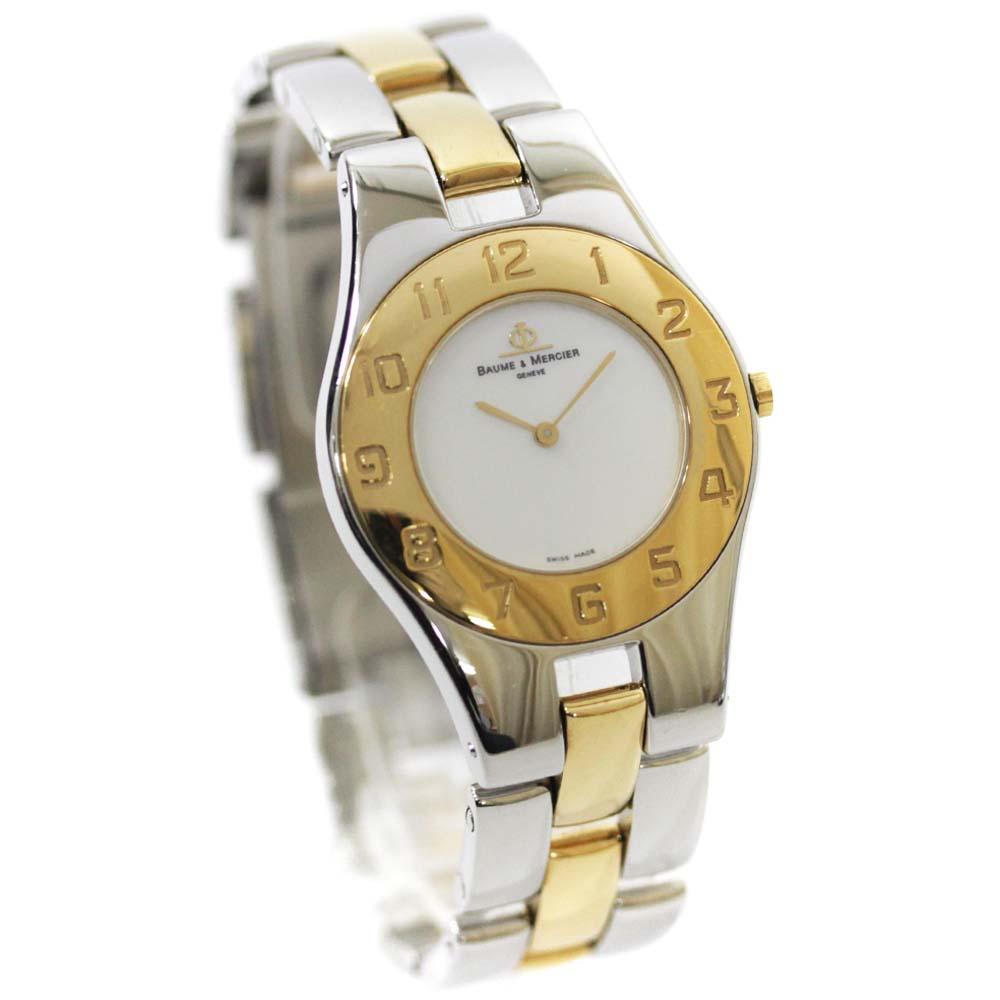 【中古】 ボーム&メルシェ リネア 腕時計 レディース クオーツ ホワイトシェル文字盤 シルバー ゴールド