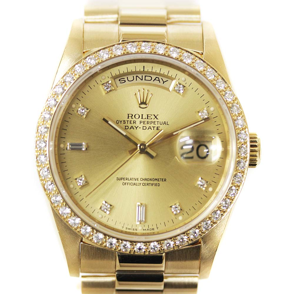 【中古】ROLEX ロレックス デイデイト ベゼルダイヤ 腕時計 メンズ 自動巻き 8Pダイヤ/2バケットダイヤ シャンパン文字盤 YG 18348A E番 【新品仕上げ済み】