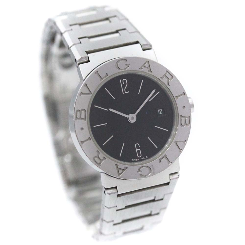 【中古】BVLGARI ブルガリ ブルガリブルガリ 腕時計 レディース クオーツ ブラック文字盤 シルバー BB26SS