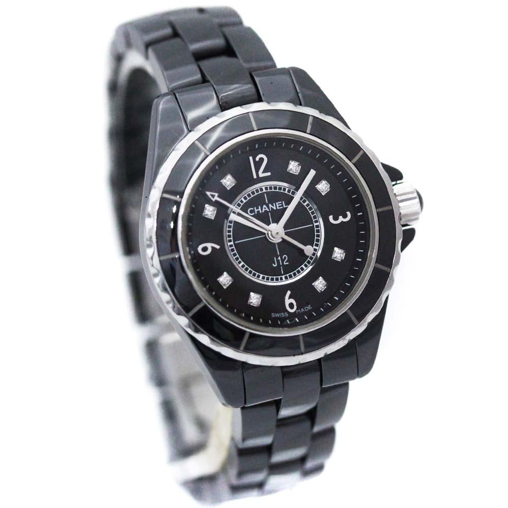 【中古】CHANEL シャネル J12 8Pダイヤ ブラック 腕時計 レディース クオーツ ブラック文字盤 ブラック シルバー H2569