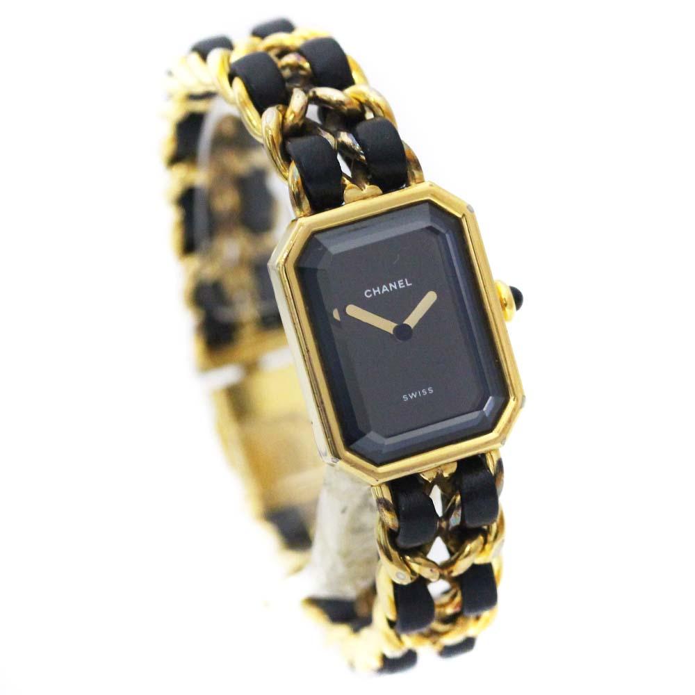 【中古】CHANEL シャネル プルミエール Lサイズ 腕時計 レディース クオーツ ブラック文字盤 ゴールド ブラック H0001