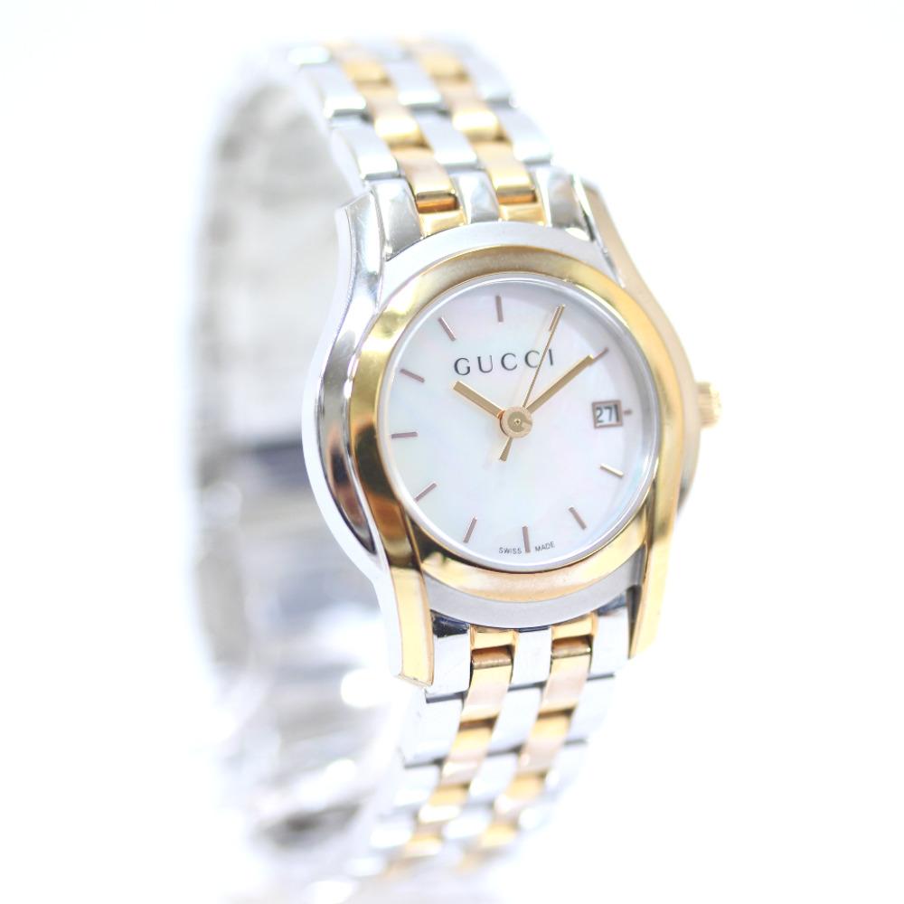 【中古】GUCCI グッチ Class Gクラス シェル文字盤 コンビ 腕時計 レディース クオーツ ホワイトシェル文字盤 ゴールド シルバー YA055538