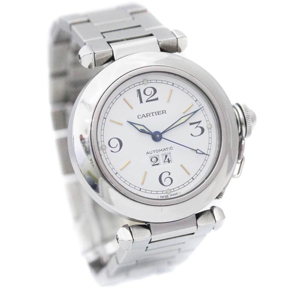 【中古】CARTIER カルティエ パシャC ビッグデイト 腕時計 メンズ 自動巻き ホワイト文字盤 シルバー W31044M7