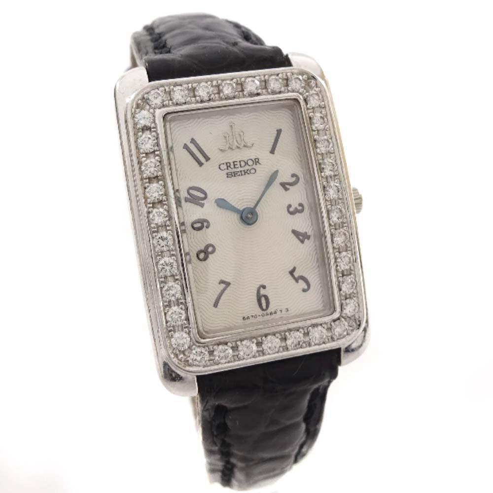 【中古】SEIKO セイコー クレドール ダイヤベゼル 腕時計 レディース クオーツ ホワイト文字盤 シルバー ブラック 5A70-0AB0