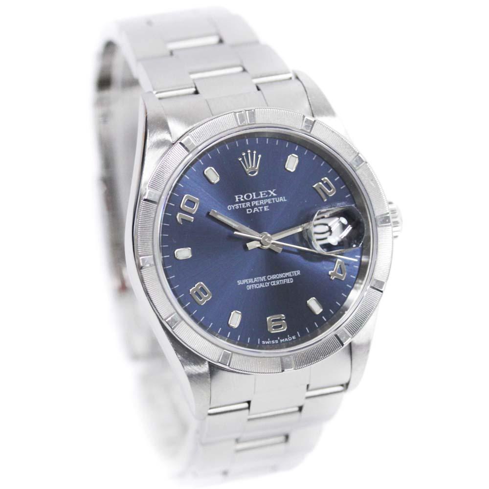 【中古】ROLEX ロレックス オイスターパーペチュアルデイト エンジンターンドベゼル 腕時計 メンズ 自動巻き ネイビー文字盤 シルバー Ref.15210・Y番【新品仕上げ済み】
