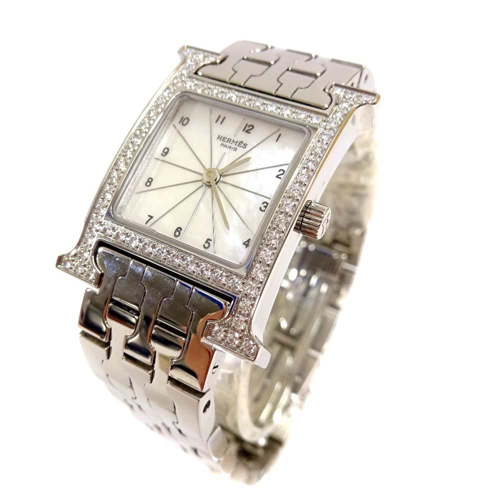 【中古】HERMES エルメス Hウォッチ ダイヤベゼル シェル文字盤 腕時計 レディース クオーツ シルバー HH1.230
