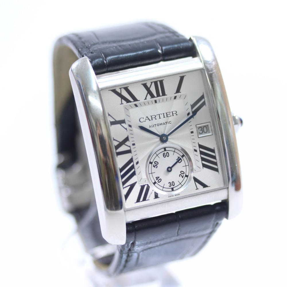 【中古】CARTIER カルティエ タンクMC ローマインデックス 裏スケ 腕時計 メンズ 自動巻き シルバー文字盤 ブラック シルバー W5330003