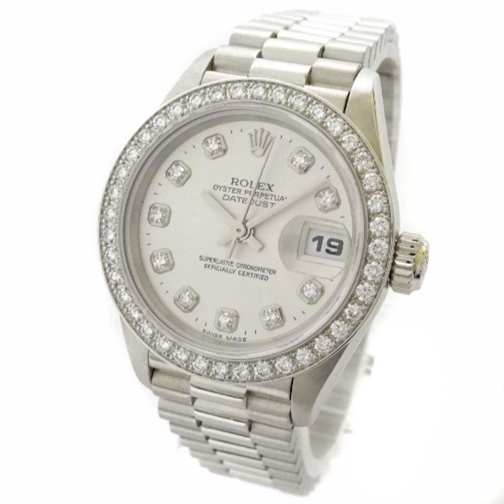 【中古】ROLEX ロレックス デイトジャスト ダイヤベゼル 腕時計 レディース 自動巻き プラチナ シルバー 69136G / W番【新品仕上げ済み】