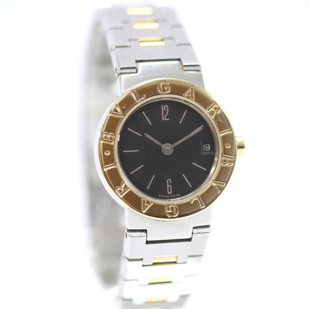 【中古】BVLGARI ブルガリ ブルガリブルガリ 腕時計 レディース クオーツ ブラック文字盤 シルバー ゴールド BB23SGD