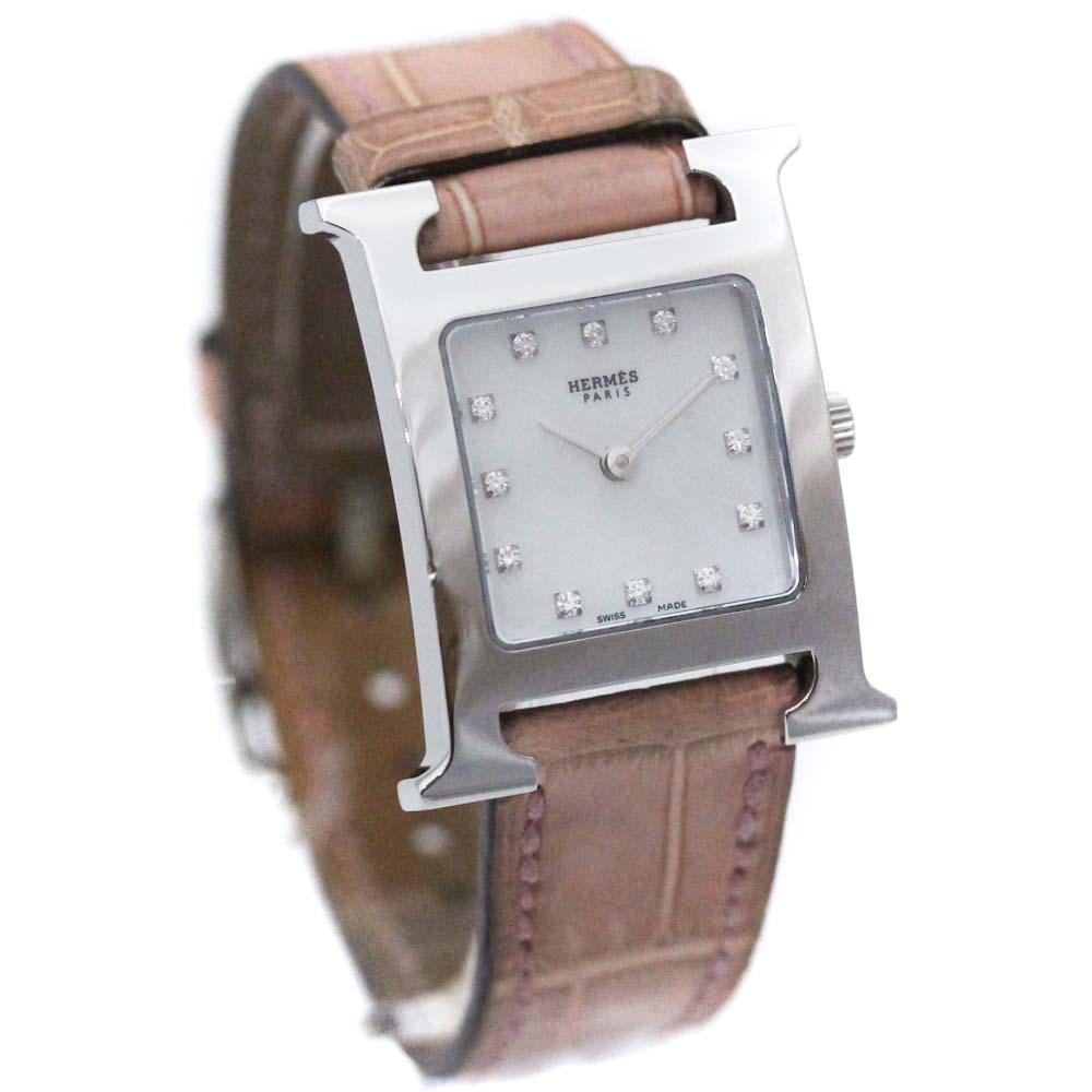 【中古】HERMES エルメス Hウォッチ 12Pダイヤ 腕時計 レディース クオーツ シェル文字盤 シルバー ピンクベージュ HH1.210 □I刻印