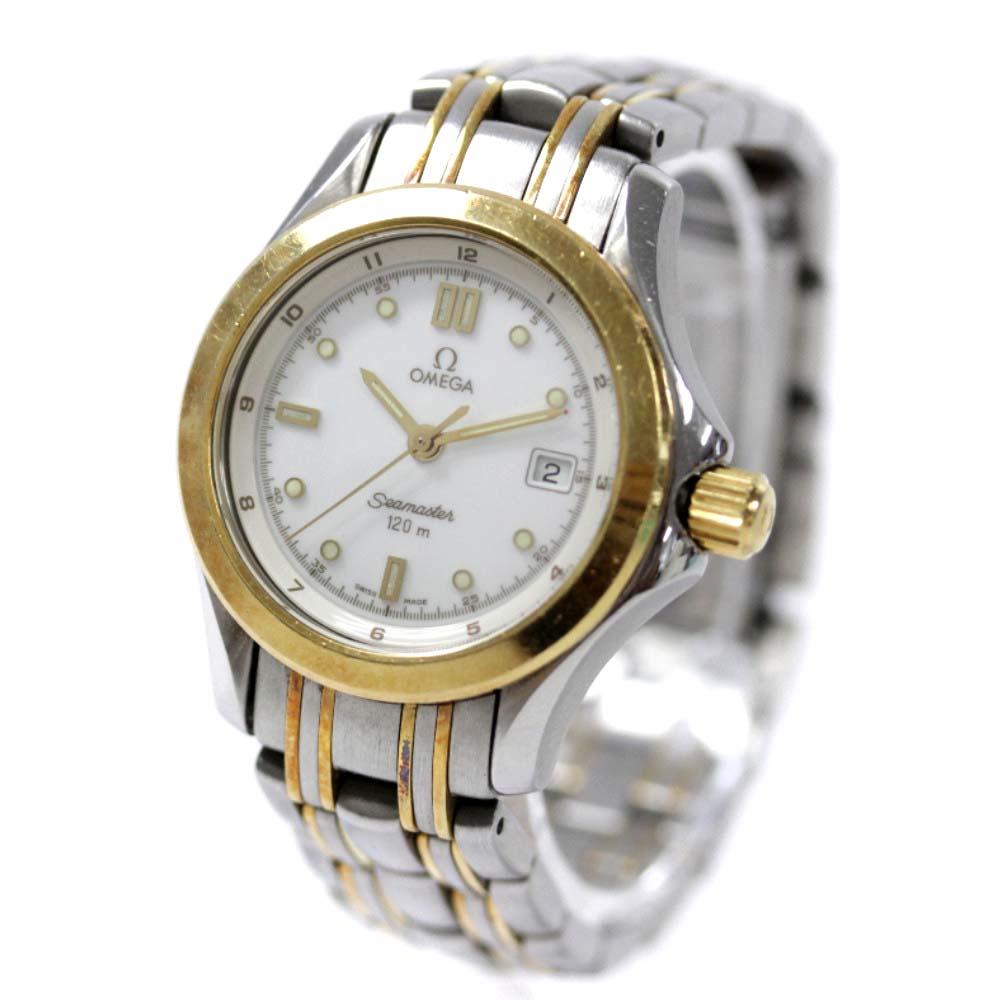 【中古】OMEGA オメガ シーマスター 120m 腕時計 レディース クオーツ ホワイト文字盤 コンビ