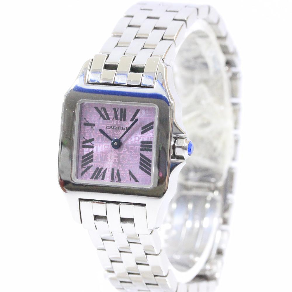【中古】CARTIER カルティエ サントス ドゥ モワゼルSM 2000本限定 腕時計 レディース クオーツ パープル文字盤 シルバー パープル W2510002