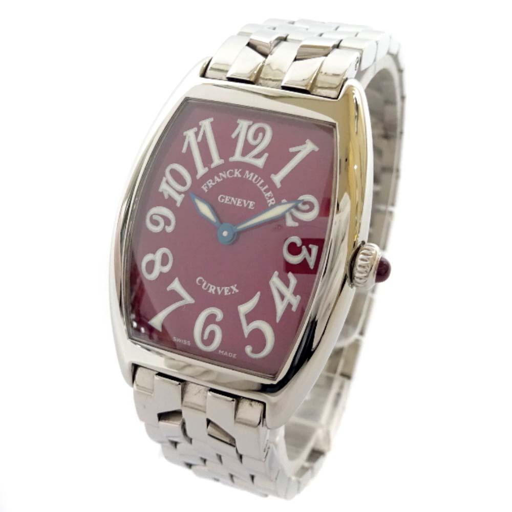 【中古】FRANCK MULLER フランクミュラー トノーカーベックス 腕時計 レディース クオーツ レッド文字盤 シルバー 1752QZ【新品仕上げ済み】