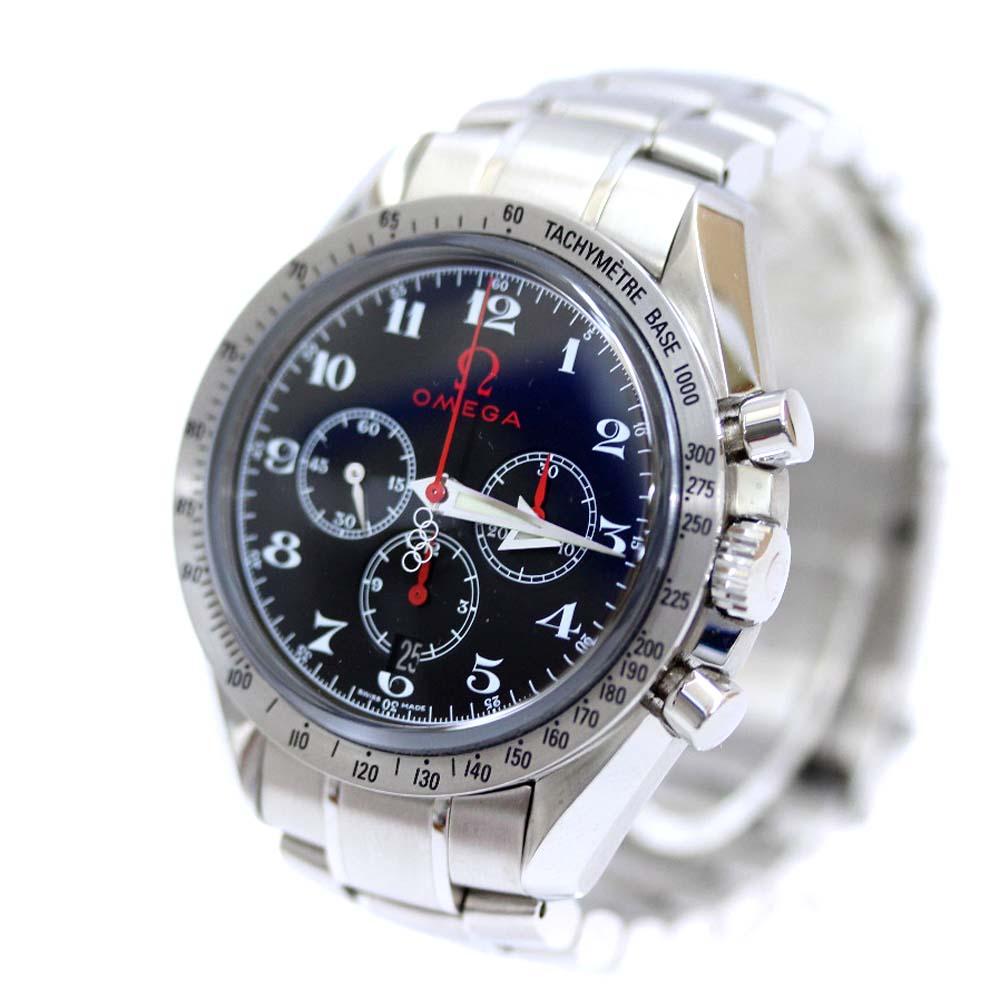 【中古】OMEGA オメガ スピードマスター ブロードアロー オリンピックコレクション 腕時計 メンズ 自動巻き ブラック文字盤 シルバー 3557.50