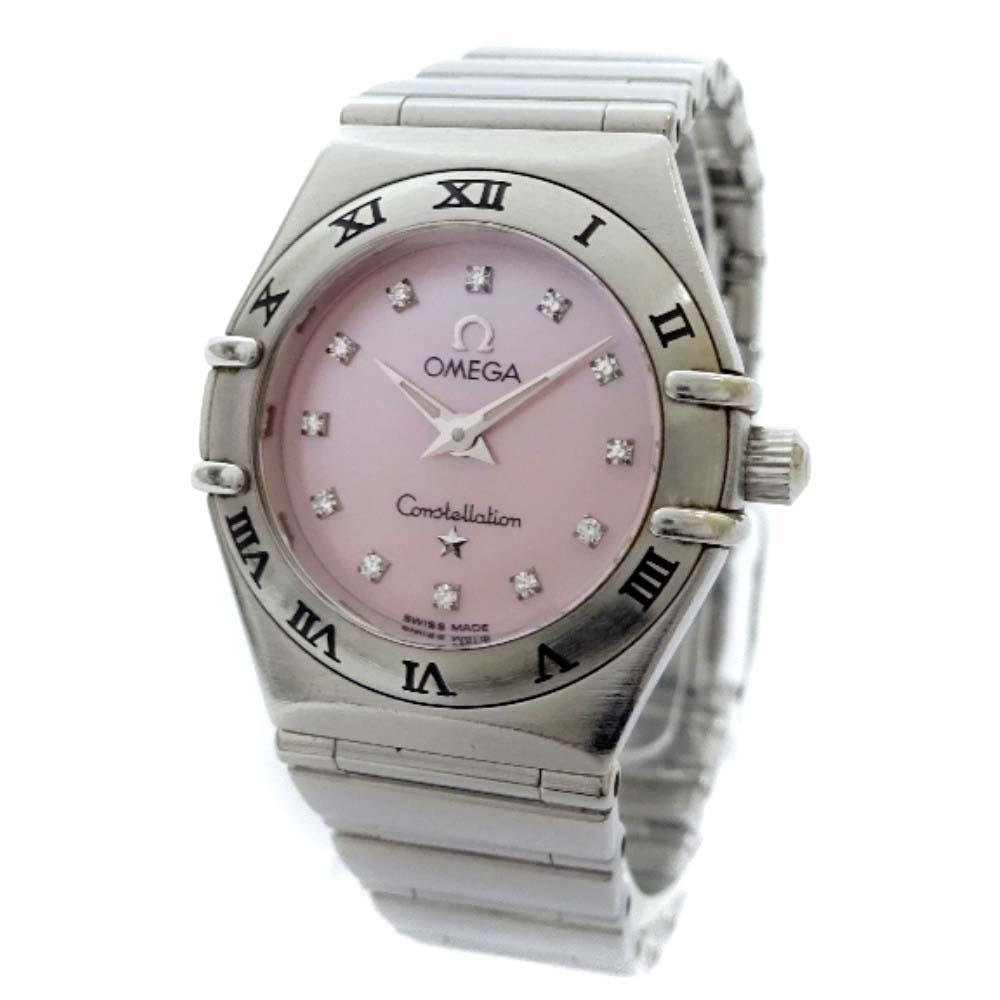 【中古】OMEGA オメガ コンステレーション ミニ 腕時計 レディース クオーツ ピンクシェル文字盤 シルバー 1562.65