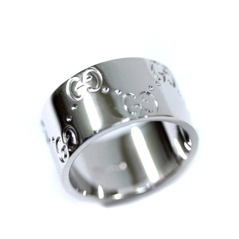 【中古】GUCCI グッチ アイコンリング ロゴ ワイド リング・指輪 ユニセックス 6号 WG K18ホワイトゴールド ジュエリー【新品仕上げ済み】