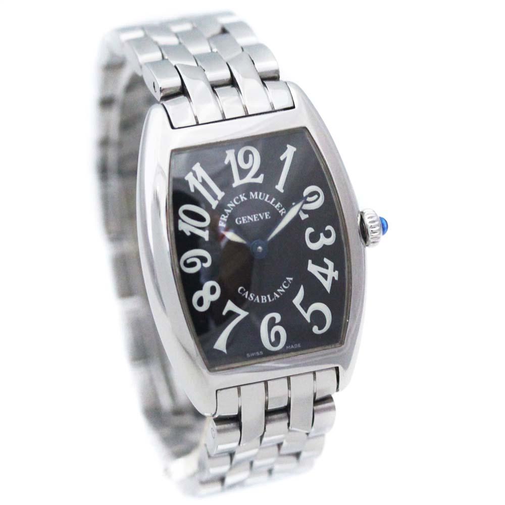 【中古】FRANCK MULLER フランクミュラー カサブランカ 腕時計 レディース クオーツ ブラック文字盤 シルバー 1752QZ