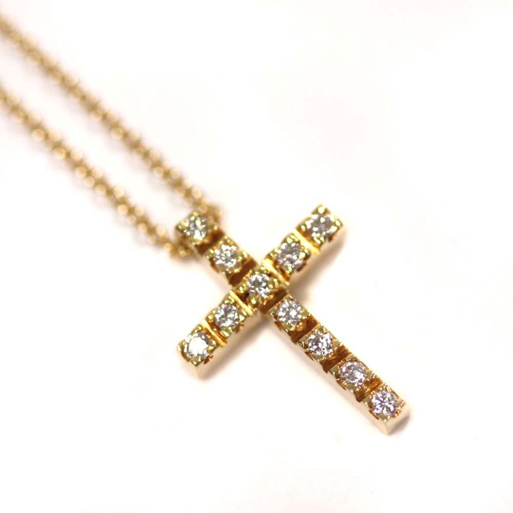 【中古】STAR JEWELRY スタージュエリー クロス ネックレス レディース イエローゴールド K18ゴールド ダイヤモンド ジュエリー【新品仕上げ済み】