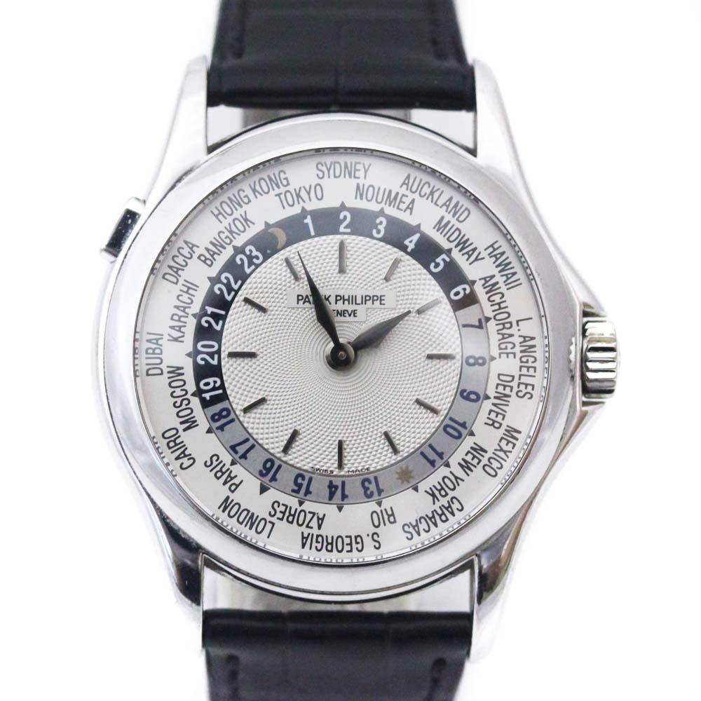 【中古】PATEK PHILIPPE パテックフィリップ ワールドタイム 腕時計 メンズ シルバー文字盤 ブラック WG 5110G-001