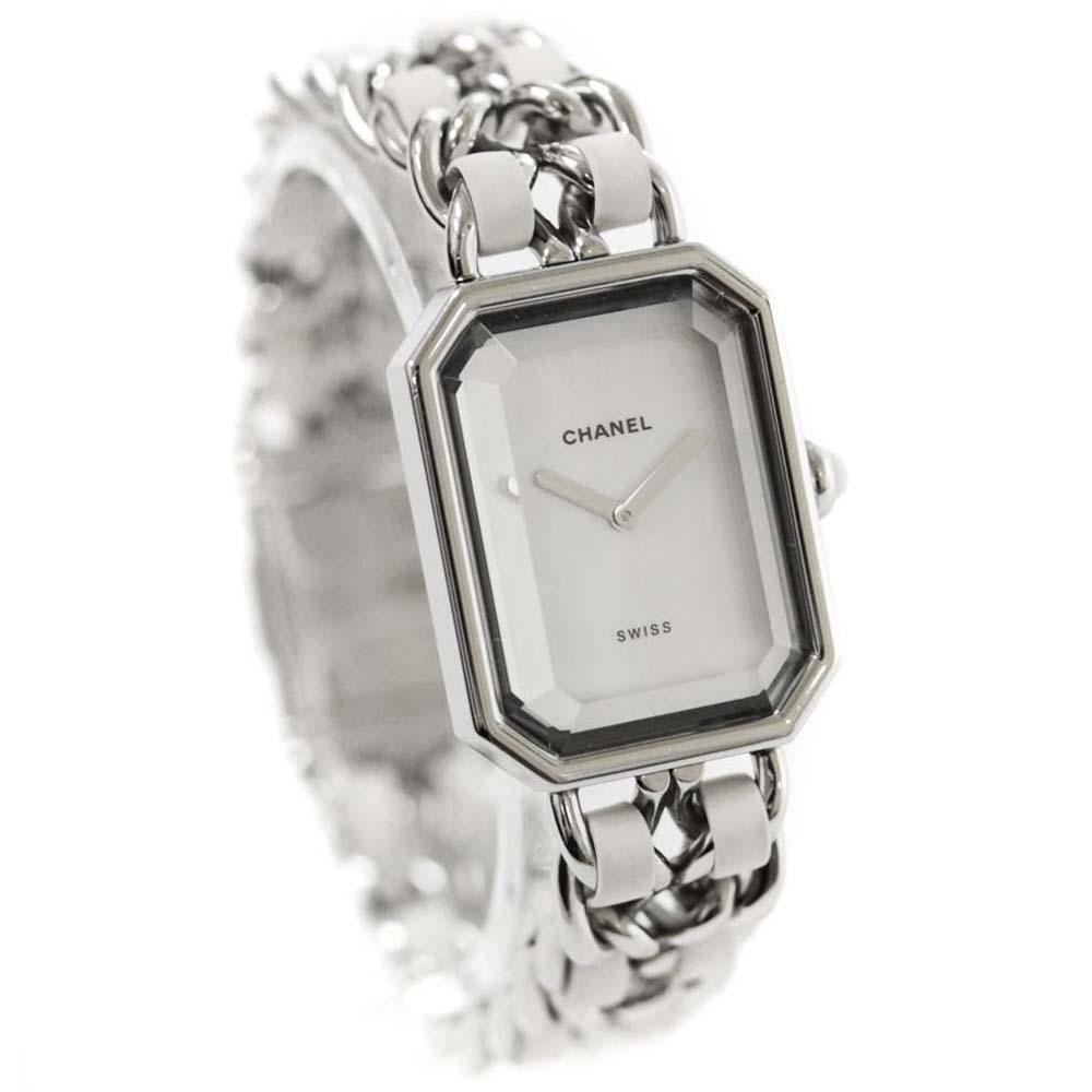 【中古】CHANEL シャネル プルミエール M-Lサイズ 腕時計 レディース クオーツ ホワイトシェル文字盤 シルバー ホワイト H1639