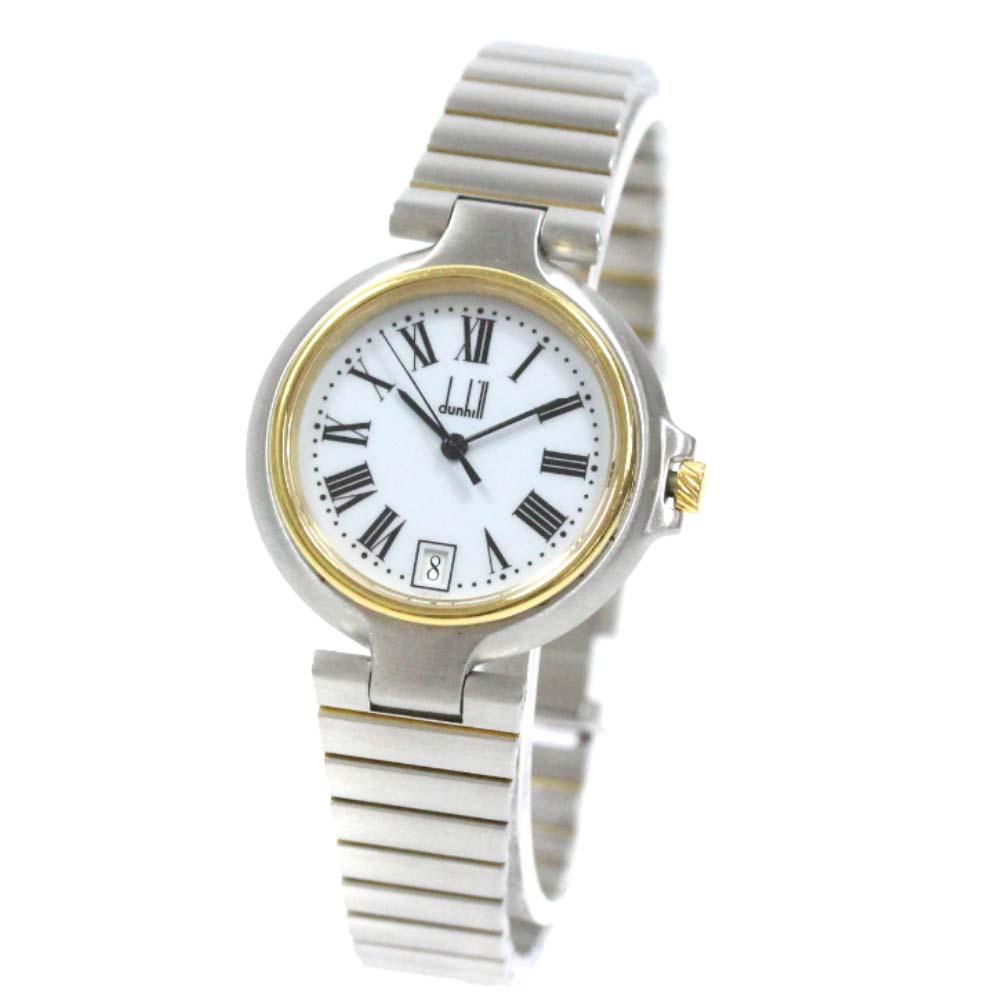 【中古】Dunhill ダンヒル エリート ローマン 腕時計 メンズ ホワイト文字盤 コンビ【オーバーホール済み】