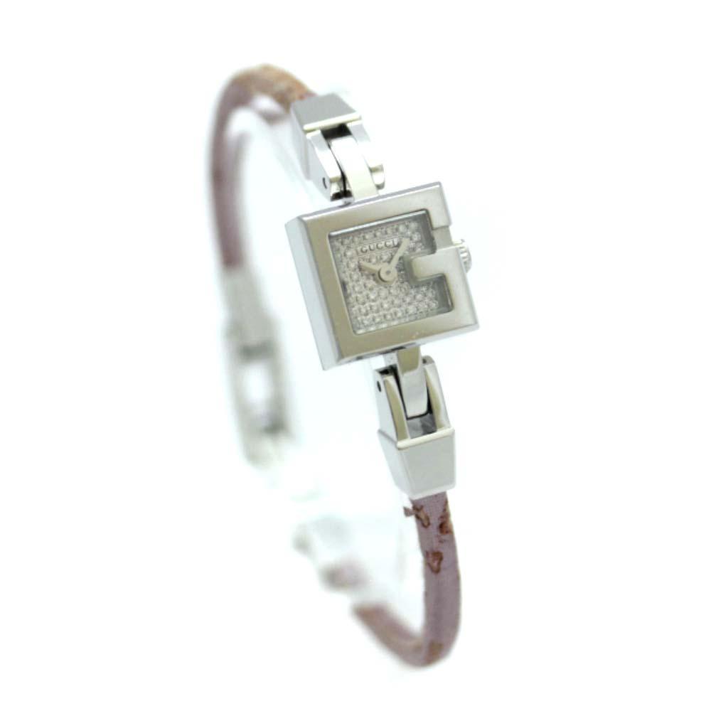 【中古】GUCCI グッチ Gミニ 腕時計 レディース クオーツ ダイヤ文字盤 パープル シルバー YA102504