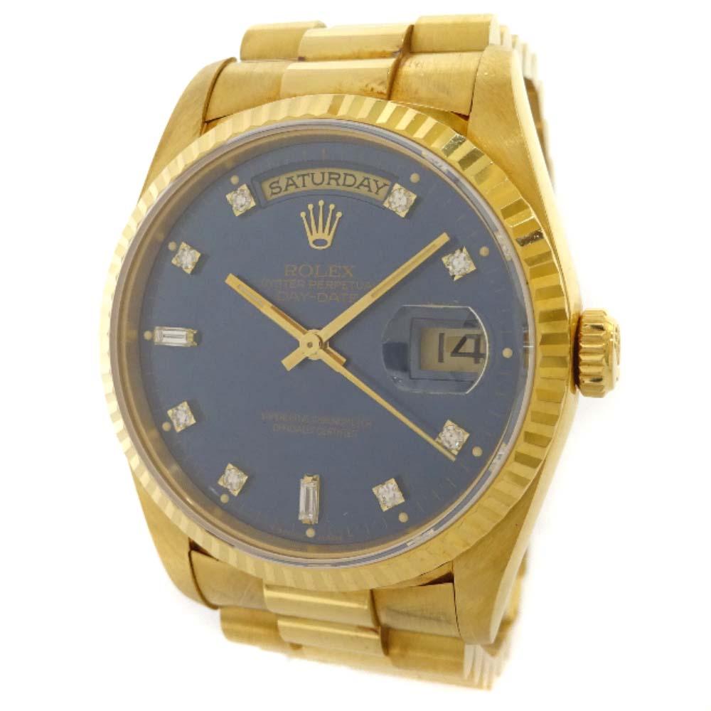 【中古】ROLEX ロレックス デイデイト 腕時計 メンズ 自動巻き ブルー文字盤 イエローゴールド 18238A / S番
