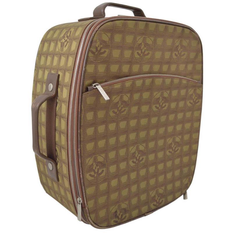 【中古】CHANEL シャネル ニュートラベルライン キャリーバッグ カーキ ブラウン ナイロン ジャガード レザー キャリーケース スーツケース 旅行バッグ