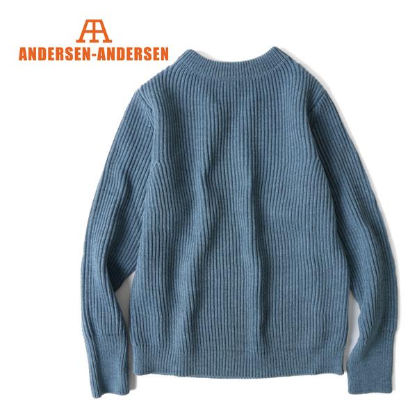 ANDERSEN-ANDERSEN アンデルセン アンデルセン インディゴ クルーネック セーター 5GG 染め (メンズ レディース)