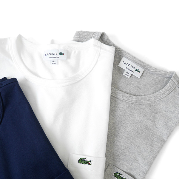 LACOSTE Lacoste chest ポケ T-shirt TH633E plain fabric pocket (men's)