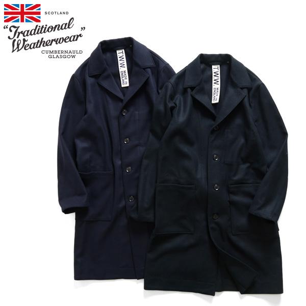 トラディショナルウェザーウェア ウールコート ショップコート ハックニー ビッグ HACKNEY BIG ブラック ネイビー (メンズ)