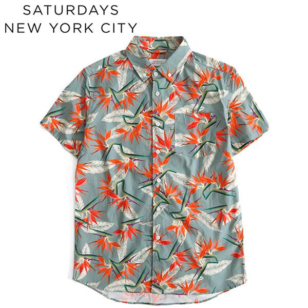 【SALE 40%OFF 】Saturdays NYC サタデーズ ニューヨークシティ パラダイス柄 アロハシャツ 半袖シャツ M11830EQ03 (メンズ)