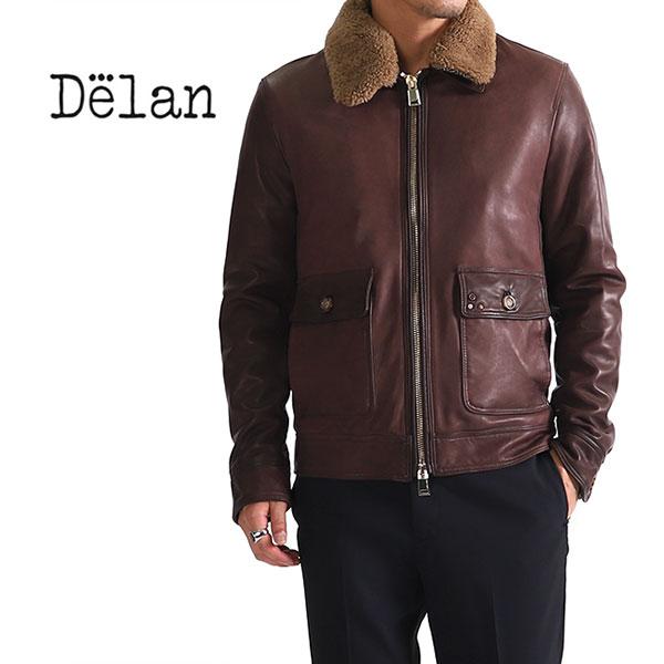 Delan デラン CARL カール A2 ボア付き レザージャケット ラムレザー ムートン (メンズ)