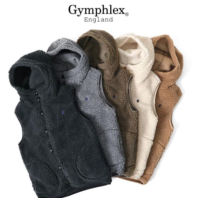 GYMPHLEX ジムフレックス フード付き GYMPHLEX ジムフレックス フード付き ボアベスト ボタン J-1069 PL フリース メンズ レディース