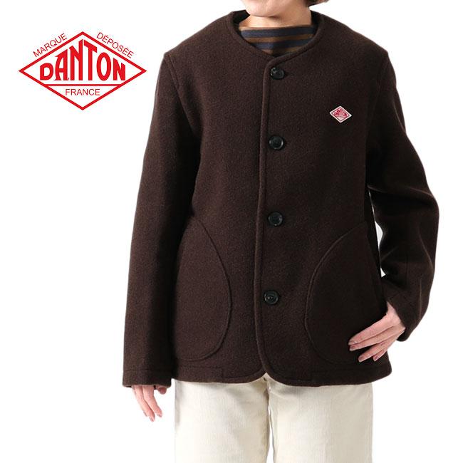 DANTON ダントン ウールモッサ カラーレス ジャケット JD-8903 ノーカラー ウールジャケット (レディース)