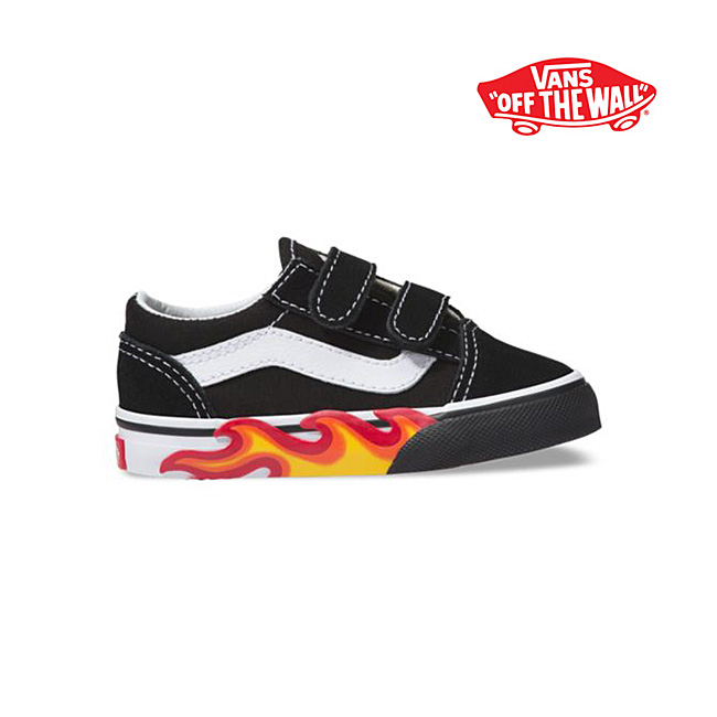 VANS vans fire pattern Velcro old school Td Old Skool V frame sneakers  shoes (ベビーインファント) de80ceeccd