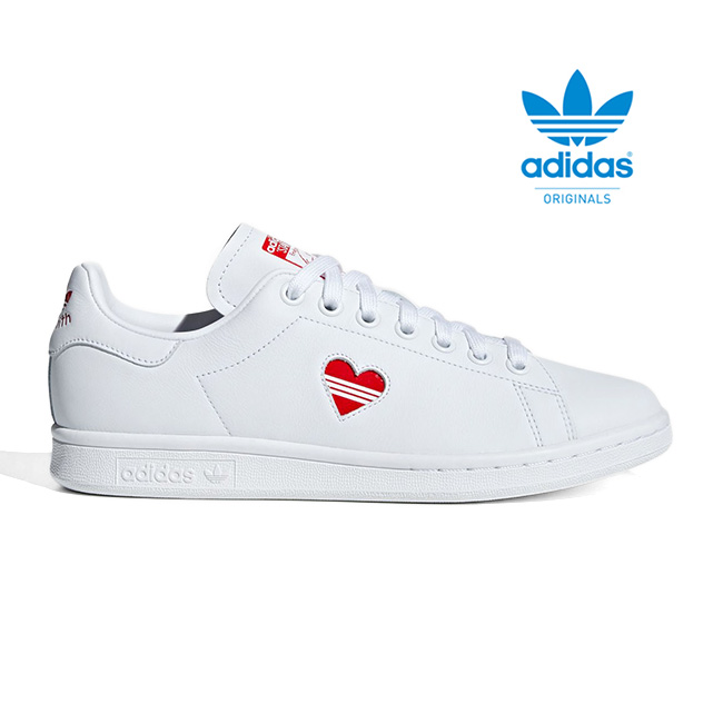 newest 3b1be bc7bc adidas Adidas originals heart logo Stan Smith G27893 white white red (men's  Lady's)