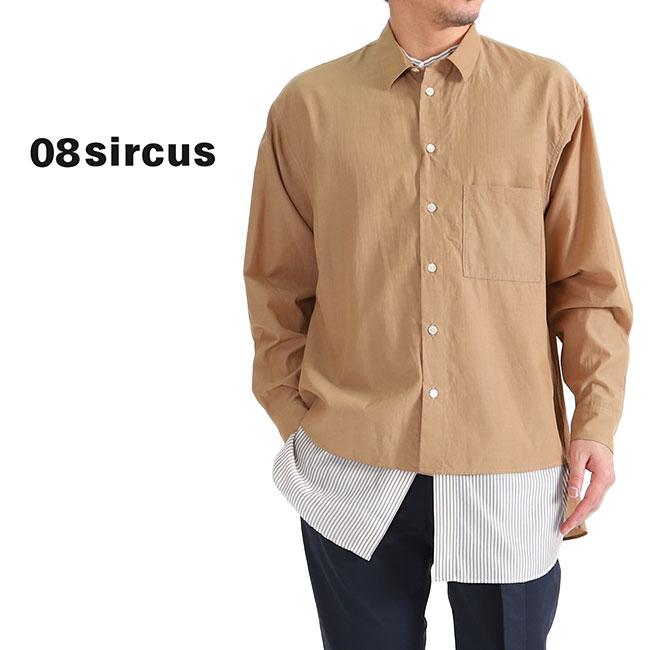 【TIME SALE 60%OFF】08 sircus 08サーカス ストライプ レイヤードシャツ S19SM-SH03 重ね着 長袖シャツ (メンズ)