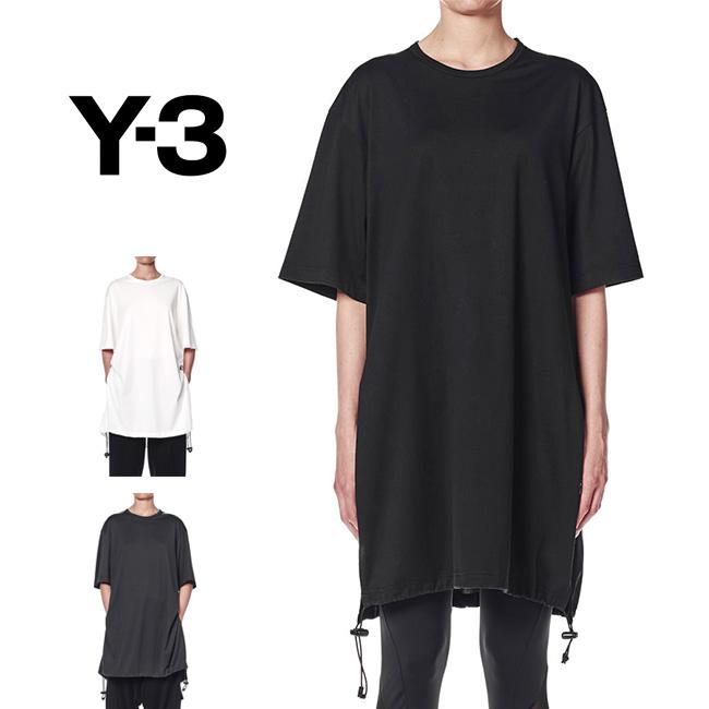 Y-3 ワイスリー ドローストリング ロングTシャツ DY7179 DY7180 DY7181 ロング丈 Tシャツワンピース 半袖Tシャツ (レディース)