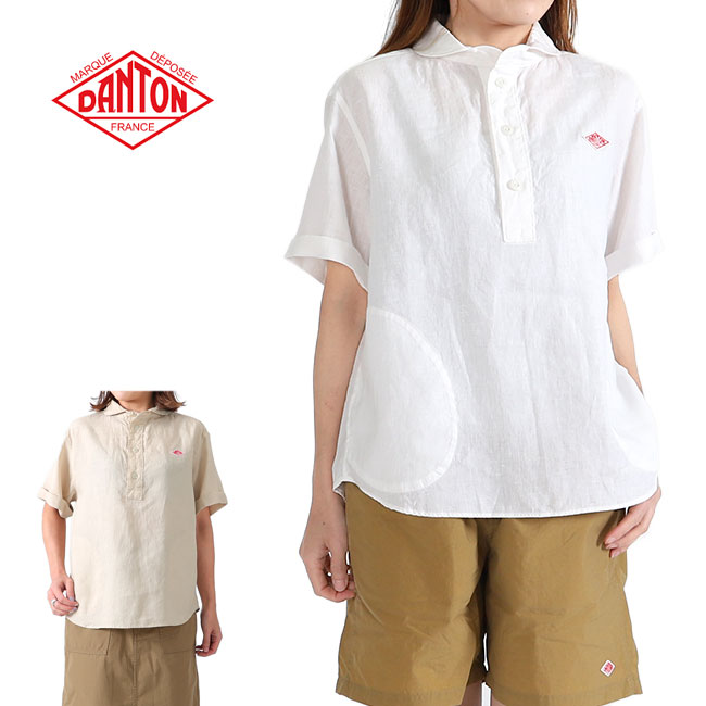 DANTON ダントン リネン プルオーバーワークシャツ JD-3565 KLS 半袖シャツ (レディース)