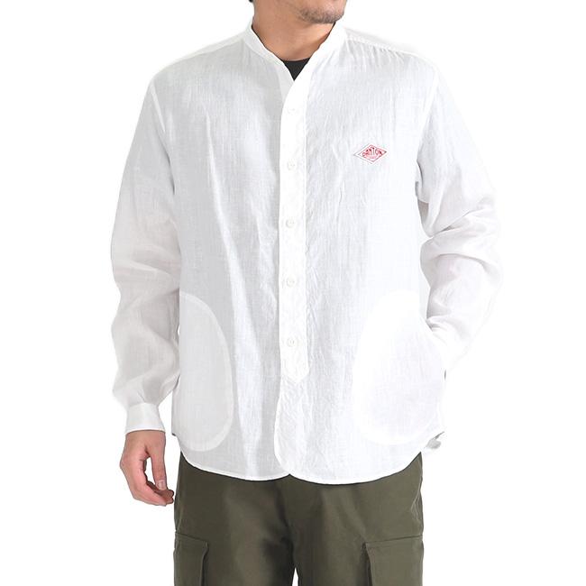 DANTON ダントン バンドカラー リネンシャツ JD-3607 KLS ノーカラー 長袖シャツ (メンズ)