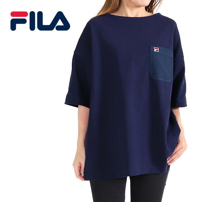 FILA フィラ オーバーサイズ 胸ポケット ボートネックTシャツ FM9541 半袖Tシャツ (メンズ レディース)