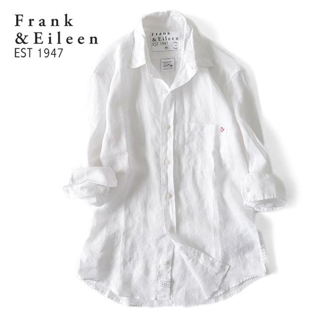 Frank&Eileen フランク&アイリーン DON ドン ハートロゴ リネンシャツ 2920700111 白 (メンズ)