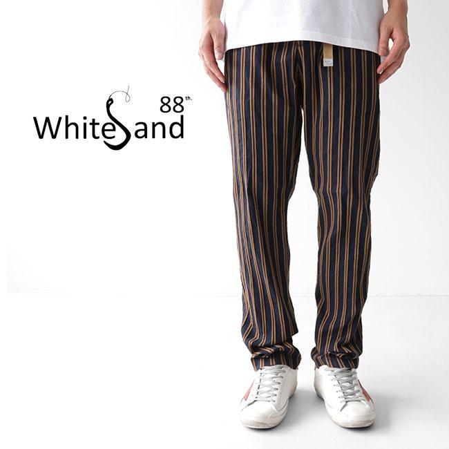 White Sand ホワイトサンド ストライプ イージーパンツ 19SU66 317(メンズ)