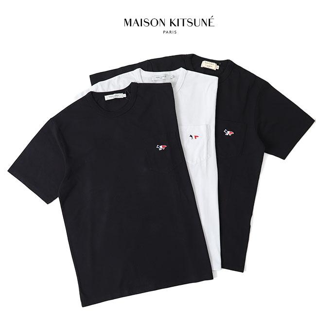 Maison Kitsune メゾン キツネ フォックスロゴ 胸ポケットTシャツ AM00102KJ0010 (メンズ レディース)