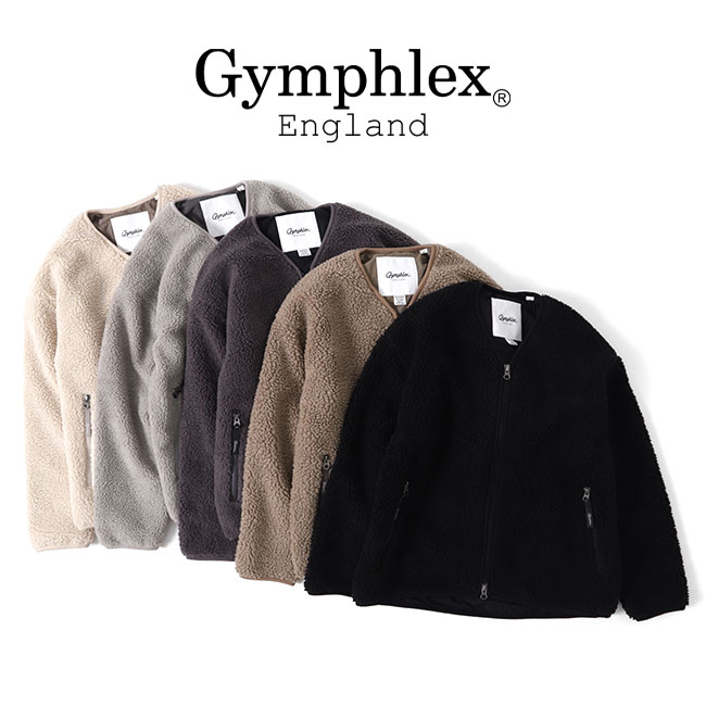 GYMPHLEX ジムフレックス ボアフリース カーティガン J-1379 PL Vネック ボアジャケット (メンズ レディース)