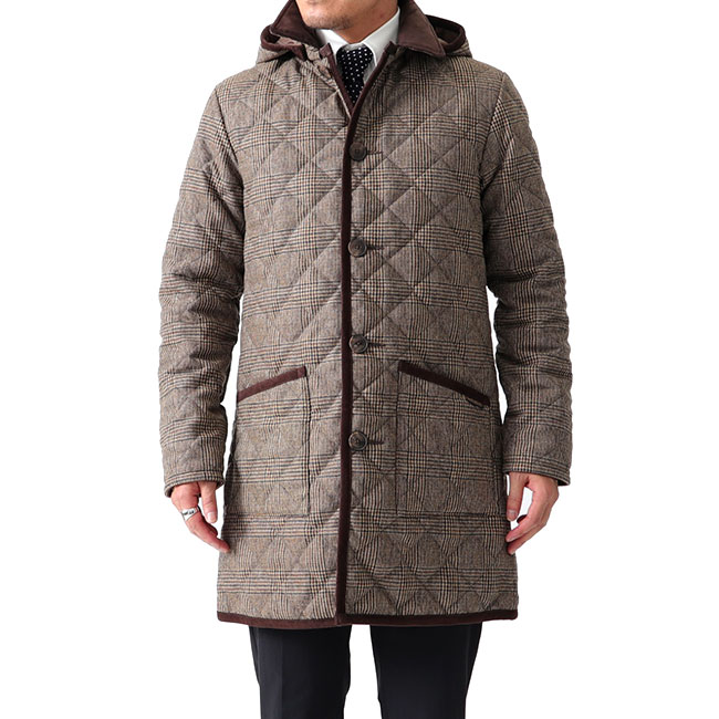 LAVENHAM ラベンハム GRINSTEAD グリンステッド グレンチェック フード付き キルティングウールコート ロングコート (メンズ)