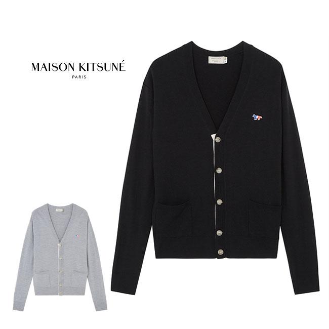 Maison Kitsune メゾンキツネ トリコ フォックスロゴ ハイゲージ カーディガン AU00500KT1036 (メンズ レディース)