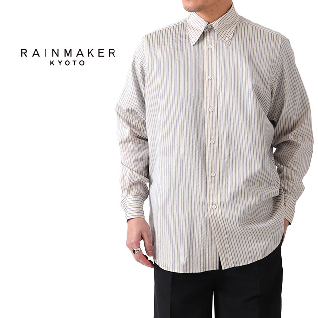 RAINMAKER レインメーカー シワ加工 ボタンダウン ストライプシャツ RM201-030 長袖シャツ シルク (メンズ)